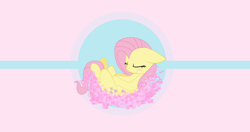 Size: 4096x2160 | Tagged: safe, artist:mazli, fluttershy, pony, 4k, petals, sleeping, solo, wallpaper