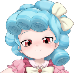 Size: 1653x1620 | Tagged: safe, artist:pestil, cozy glow, human, art pack:pantiepalooza3, blushing, bow, bust, clothes, cozybetes, cute, female, frills, hair bow, humanized, looking at you, simple background, smug, solo, transparent background