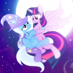 Size: 590x590 | Tagged: safe, artist:pixelkitties, edit, trixie, twilight sparkle, alicorn, pony, unicorn, cape, clothes, cropped, female, hat, lesbian, moon, night, shipping, trixie's cape, trixie's hat, twilight sparkle (alicorn), twixie