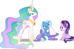 Size: 2915x1921 | Tagged: safe, artist:8-notes, artist:cheezedoodle96, artist:cloudyglow, artist:sketchmcreations, artist:tardifice, edit, editor:slayerbvc, vector edit, princess celestia, starlight glimmer, trixie, unicorn, annoyed, cape, celestia is not amused, celestia's crown, clothes, concerned, confused, female, hat, hoof shoes, magic trick, mare, oops, out of trixie's hat, peytral, race swap, simple background, sitting, this will end in a trip to the moon, transparent background, trixie's cape, trixie's hat, unamused, unicorn celestia, vector, wingless, wings