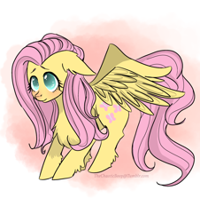 Size: 1280x1416 | Tagged: safe, artist:thechaoticboop, fluttershy, pegasus, pony, chest fluff, cute, ear fluff, female, floppy ears, leg fluff, mare, shyabetes, solo