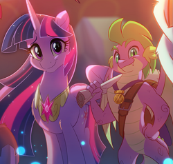 Size: 973x925 | Tagged: safe, artist:light262, edit, spike, twilight sparkle, alicorn, dragon, pony, cropped, cute, duo, element of magic, ethereal mane, female, happy birthday mlp:fim, looking at you, male, mare, mlp fim's ninth anniversary, older, older spike, older twilight, smiling, spikabetes, twiabetes, twilight sparkle (alicorn), ultimate twilight, winged spike
