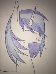 Size: 1024x1365 | Tagged: safe, artist:dinogrl, dj pon-3, vinyl scratch, pony, unicorn, female, mare, one eye closed, solo, traditional art