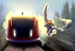 Size: 1707x1152   Tagged: safe, artist:28gooddays, rainbow dash, pegasus, pony, female, flying, racing, solo, train