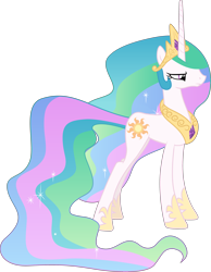 Size: 3000x3867 | Tagged: safe, artist:cloudyglow, edit, editor:slayerbvc, vector edit, princess celestia, pony, unicorn, a royal problem, annoyed, celestia's crown, female, hoof shoes, mare, peytral, race swap, simple background, solo, transparent background, unicorn celestia, vector, wingless