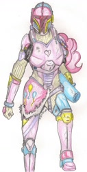 Size: 894x1756 | Tagged: safe, artist:thegloriesbigj, pinkie pie, human, armor, crossover, humanized, mandalorian, party cannon, simple background, solo, star wars, traditional art, white background