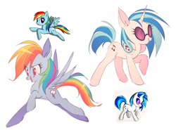 Size: 1618x1200 | Tagged: safe, artist:mametchl, dj pon-3, rainbow dash, vinyl scratch, pegasus, pony, unicorn, comparison, headphones, redraw, sunglasses
