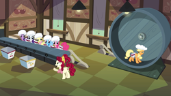 Size: 1920x1080 | Tagged: safe, screencap, applejack, cherry jubilee, fluttershy, pinkie pie, rainbow dash, rarity, twilight sparkle, earth pony, pegasus, pony, unicorn, the last roundup, treadmill