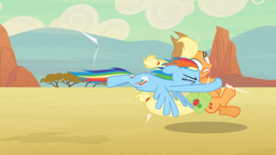 Size: 1920x1080 | Tagged: safe, screencap, applejack, rainbow dash, earth pony, pegasus, pony, the last roundup, collision, great moments in animation