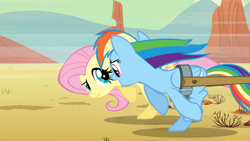 Size: 1920x1080 | Tagged: safe, screencap, fluttershy, rainbow dash, pegasus, pony, the last roundup, chase, duo, encouragement, female, frown, looking at each other, mare, multicolored hair, pulling, raised eyebrow, running, windswept mane, yelling