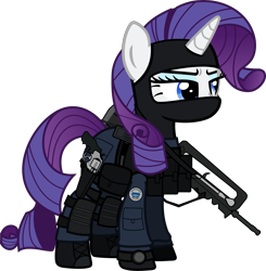 Size: 6000x6113 | Tagged: safe, artist:n0kkun, rarity, pony, unicorn, armor, assault rifle, balaclava, belt, boot, clothes, commission, eyeshadow, famas, female, france, french, gign, gloves, gun, handgun, holster, knee pads, makeup, mare, mask, model 686, pants, part of a set, police, pouch, radio, revolver, rifle, simple background, solo, transparent background, watch, weapon, wristwatch