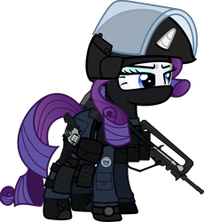 Size: 6000x6528 | Tagged: safe, alternate version, artist:n0kkun, rarity, pony, unicorn, armor, assault rifle, balaclava, belt, boot, clothes, commission, eyeshadow, famas, female, france, french, gign, gloves, gun, handgun, helmet, holster, knee pads, makeup, mare, mask, model 686, pants, part of a set, police, pouch, ppe, radio, revolver, rifle, simple background, solo, transparent background, watch, weapon, wristwatch