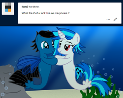 Size: 5622x4507 | Tagged: safe, artist:agkandphotomaker2000, dj pon-3, vinyl scratch, oc, oc:pony video maker, seapony (g4), tumblr:pony video maker's blog, ask, bubble, canon x oc, holding hooves, ocean, rock, seaponified, seapony vinyl scratch, seaweed, show accurate, species swap, tumblr, underwater