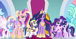 Size: 1766x907 | Tagged: safe, artist:unoriginai, princess cadance, princess flurry heart, shining armor, twilight sparkle, oc, oc:paladin, alicorn, magical lesbian spawn, magical threesome spawn, offspring, older, older flurry heart, older princess cadance, older shining armor, older twilight, parent:princess cadance, parent:shining armor, parent:twilight sparkle, parents:shining sparkle, parents:twiarmordance, parents:twidance, product of incest, twilight sparkle (alicorn), ultimate cadance, ultimate twilight