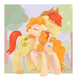 Size: 1100x1100 | Tagged: safe, artist:imaplatypus, bright mac, pear butter, earth pony, pony, the perfect pear, brightbutter, cute, eyes closed, female, hat, male, mare, nuzzling, raised leg, shipping, smiling, stallion, straight, tree