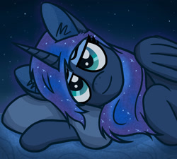 Size: 2000x1800 | Tagged: safe, artist:magic horse, princess luna, alicorn, digital art, female, lidded eyes, looking at you, lying down, mare, meta, night, princess, smiling at you, solo, stars, twitter