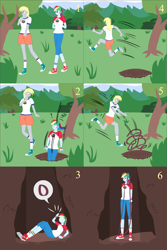 Size: 1500x2250   Tagged: safe, artist:lzh, derpy hooves, rainbow dash, equestria girls, legend of everfree, autumn, comic, converse, female, grassland, hole, old master q, rope, running, shoes