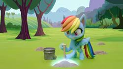 Size: 1920x1080 | Tagged: safe, screencap, rainbow dash, pegasus, pony, gem of a problem, my little pony: pony life, bucket, digging, shocked, shovel, solo, stop motion