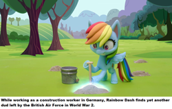 Size: 1280x812 | Tagged: safe, edit, edited screencap, screencap, rainbow dash, pegasus, pony, gem of a problem, my little pony: pony life, bucket, implied bomb, ponestrip, shocked, shovel, solo, stop motion