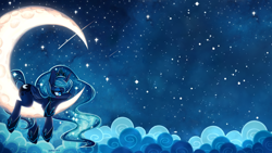 Size: 3200x1800 | Tagged: safe, artist:jopiter, edit, princess luna, alicorn, pony, blushing, cloud, crescent moon, female, frown, lying, mare, meteor, moon, shooting star, solo, stars, tangible heavenly object, transparent moon, wallpaper, wallpaper edit