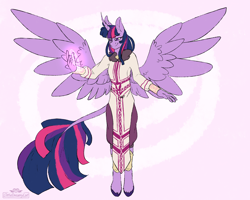 Size: 2500x2000 | Tagged: safe, artist:dreamy, artist:littledreamycat, twilight sparkle, alicorn, anthro, unguligrade anthro, fanfic:my little pony: the unexpected future, commission, leonine tail, magic, pony to anthro, transformation, transformed, twilight sparkle (alicorn)