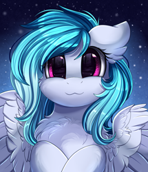 Size: 1722x2003 | Tagged: safe, artist:pridark, oc, oc only, pegasus, pony, bust, chest fluff, commission, cute, daaaaaaaaaaaw, ear fluff, looking at you, ocbetes, portrait, smiling, solo, weapons-grade cute