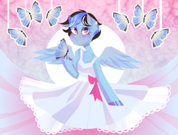 Size: 2331x1761 | Tagged: safe, artist:silastik, oc, oc only, oc:icylightning, butterfly, pegasus, pony, abstract background, blushing, clothes, commission, dress, ear piercing, earring, female, jewelry, mare, piercing, ribbon, ych result