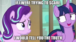 Size: 888x500 | Tagged: safe, edit, edited screencap, screencap, starlight glimmer, twilight sparkle, alicorn, pony, unicorn, the beginning of the end, caption, image macro, text, twilight sparkle (alicorn)