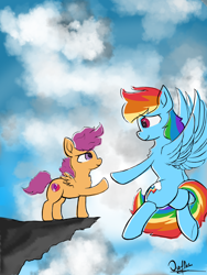 Size: 4500x6000 | Tagged: safe, artist:akuneanekokuro, rainbow dash, scootaloo, pegasus, pony, backwards cutie mark, cheering, cliff, cloud, cutie mark, female, filly, flying, mare, sky, trust me