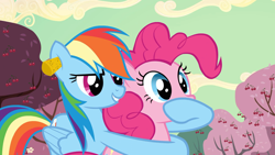 Size: 1920x1080 | Tagged: safe, screencap, pinkie pie, rainbow dash, earth pony, pegasus, pony, the last roundup, cherry tree, ear plugs, tree