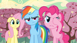 Size: 1920x1080 | Tagged: safe, screencap, fluttershy, pinkie pie, rainbow dash, earth pony, pegasus, pony, the last roundup, cherry tree, hoof over eye, pinkie promise, rainbow dash is not amused, tree, unamused