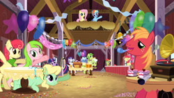 Size: 1920x1080 | Tagged: safe, screencap, apple bloom, apple bumpkin, apple fritter, apple honey, apple tarty, big macintosh, fluttershy, granny smith, peachy sweet, rainbow dash, rarity, red gala, twilight sparkle, earth pony, pegasus, pony, unicorn, the last roundup, apple family member, balloon, barn, pitchfork, record player