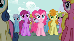 Size: 1920x1080 | Tagged: safe, screencap, berry punch, berryshine, bon bon, carrot top, cherry berry, daisy, flower wishes, golden harvest, linky, pinkie pie, shoeshine, sweetie drops, earth pony, pony, the last roundup, background pony