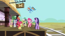 Size: 1920x1080   Tagged: safe, screencap, apple bloom, big macintosh, bon bon, fluttershy, granny smith, pinkie pie, rainbow dash, rarity, sweetie drops, twilight sparkle, earth pony, pegasus, pony, unicorn, the last roundup, train station
