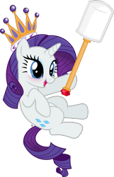 Size: 2622x4060   Tagged: safe, artist:anime-equestria, rarity, pony, unicorn, blushing, crown, cute, female, food, gem, happy, horn, jewelry, marshmallow, queen, raribetes, rarity is a marshmallow, regalia, simple background, solo, staff, transparent background, vector
