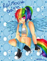 Size: 2153x2786 | Tagged: safe, artist:pieperstars, rainbow dash, human, 2104, abstract background, bra, clothes, converse, crop top bra, female, fingerless gloves, gloves, gym shorts, humanized, sexy, shoes, shorts, sitting, socks, solo, sports bra, sports shorts, tail, text, underwear, vest, winged humanization, wings