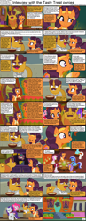 Size: 1282x3304   Tagged: safe, cayenne, coriander cumin, culinary art (character), gourmand ramsay, jiffy bake, minuette, pinkie pie, pretzel twist, rarity, saffron masala, serena, twinkleshine, earth pony, unicorn, comic:celestia's servant interview, spice up your life, adoriander cumin, caption, cooking, cs captions, cute, descriptive noise, father and child, father and daughter, female, interview, male, mare, onomatopoeia, saffronbetes, stallion, tasty treat