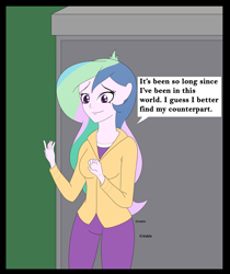 Size: 4500x5347 | Tagged: safe, artist:diaperednight, princess celestia, human, comic:celestia's 12 labours, equestria girls, absurd resolution, clothes, crinkle, diaper under clothes, eyebrows, eyelashes, female, happy, implied diaper, implied diaper fetish, jacket, monologue, onomatopoeia, outdoors, pants, portal, princess, royalty, shirt, speech bubble, story included, t-shirt, talking, talking to herself, text, woman