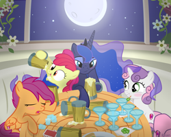Size: 3125x2500 | Tagged: source needed, safe, artist:bean, apple bloom, princess luna, scootaloo, sweetie belle, alicorn, earth pony, pegasus, pony, unicorn, alcohol, blushing, cover art, cutie mark crusaders, drunk, drunk luna, drunkaloo, drunker belle, drunker bloom, female, filly, fimfiction, flower, full moon, mare, moon, stars, table, underaged drinking, window