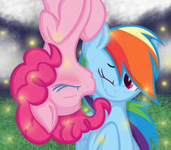 Size: 1000x876   Tagged: safe, artist:silvercloud36, pinkie pie, rainbow dash, firefly (insect), insect, blushing, female, kissing, lesbian, pinkiedash, shipping