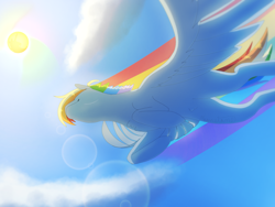 Size: 2048x1536 | Tagged: safe, artist:cowovermoonstone, rainbow dash, pegasus, pony, cloud, female, flying, lens flare, mare, perspective, rainbow trail, sky, solo, spread wings, sun, wings