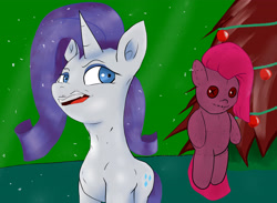 Size: 4921x3600 | Tagged: safe, artist:guatergau5, pinkie pie, rarity, pony, unicorn, christmas, christmas tree, doll, holiday, pinkamena diane pie, toy, tree