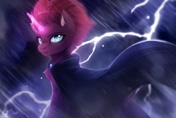 Size: 1500x1000 | Tagged: safe, artist:lostdreamm, tempest shadow, pony, unicorn, my little pony: the movie, cape, clothes, female, lightning, magic horn, mare, rain, signature, thunder