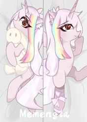 Size: 2103x2971 | Tagged: safe, artist:memengla, oc, oc:memengla, pony, unicorn, bed sheets, body pillow, female