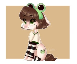 Size: 1080x905 | Tagged: safe, artist:tremu_la_cabra, oc, oc only, earth pony, frog, pony, abstract background, chest fluff, clothes, earth pony oc, eye clipping through hair, female, glasses, headband, mare, sitting, smiling, socks, solo, striped socks