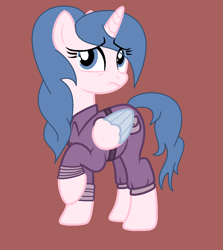 Size: 1080x1212 | Tagged: safe, artist:lominicinfinity, oc, oc:sparkburst, alicorn, pony, base used, brown background, clothes, female, jumpsuit, mare, simple background, solo, two toned wings, wings