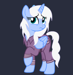 Size: 1132x1154 | Tagged: safe, artist:lominicinfinity, oc, oc:frostdrop, alicorn, pony, base used, blue background, clothes, female, jumpsuit, mare, simple background, solo