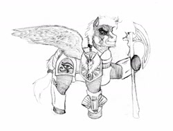 Size: 1280x972 | Tagged: safe, artist:hispurpleness, oc, oc:peregrine, pegasus, armor, axe, battle axe, battle scarred, crossbow, eye of horus, monochrome, pegasus oc, ponytail, royal guard, royal guard armor, shoulder plates, weapon, wings