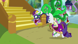 Size: 1920x1080 | Tagged: safe, screencap, mane-iac, rarity, spike, dragon, dragon dropped, cart, clothes, comic book, cosplay, costume, school of friendship, twilight's castle, winged spike