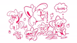 Size: 2048x1152 | Tagged: safe, artist:kylesmeallie, apple bloom, earth pony, pony, apple, bow, eating, food, hair bow, herbivore, monochrome, pencil, simple background, solo, thought bubble, white background